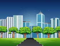 Cartoon of a city scene with road to downtown. Illustration of Cartoon of a city scene with road to downtown royalty free illustration