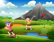 Kids are playing golf in the beautiful nature stock illustration