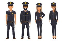 Group of police officers. Vector stock illustration