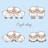 Sweet couple animals cartoon vector illustration. Cute sheep in love with heart. royalty free illustration