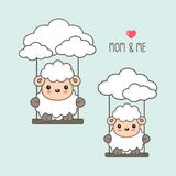 Sheep and baby swing in the sky. stock illustration