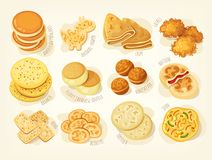 Various kinds of pancakes vector illustration