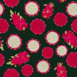 Seamless vector pattern with red flesh and white flesh dragonfruits on dark background vector illustration