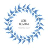 Watercolor beautiful floral wreath leaves with vector illustration royalty free illustration