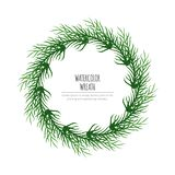 Hand Painted Watercolor Beautiful Green Leaf Vector Wreath stock illustration