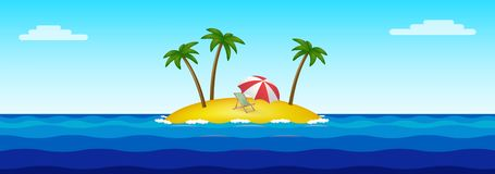 PrintParadise island in the middle of the ocean stock illustration