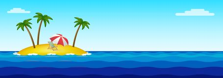 Paradise island in the middle of the ocean vector illustration