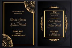 Invitation wedding luxury template gold royalty free stock photography