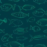 Seamless vector pattern with fishes having different facial expressions vector illustration