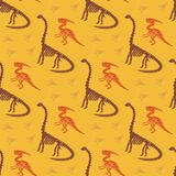 Dinosaur skeleton and fossils. Vector seamless pattern. Original design with parasaurolophus, diplodocus and traces. vector illustration