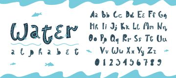 Vector underwater latin alphabet and numbers in Scandinavian style royalty free illustration