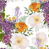 Yellow tulips and beige peony flowers with herbs and lilac bouquet seamless pattern. Watercolor style Illustration. stock illustration