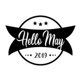 Hello may. greeting vector vintage lettering vector illustration