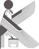 Ancient egypt mural, sculpture ancient egypt background. An illustration of an eagle. stock illustration
