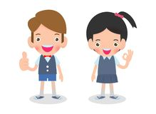 Vector illustration of Happy kids shows thumbs up and shows hand okay sign Isolated on white background. Vector illustration of Happy kids shows thumbs up and royalty free illustration