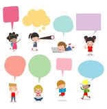Cute kids with speech bubbles, Set of diverse Kids and Different nationalities with speech bubbles isolated on white background. Kids go to school with speech royalty free illustration