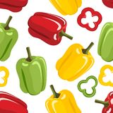 Bell pepper seamless pattern. Yellow, green and red paprika, slices. stock illustration
