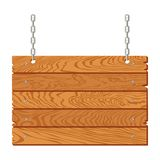 Wooden signboard hanging on chains isolated. Vector illustration stock illustration