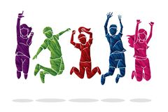 Group of children jumping Happy Fun Party royalty free illustration