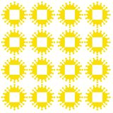 Abstract yellow sun and box in the middle. Vector stock illustration