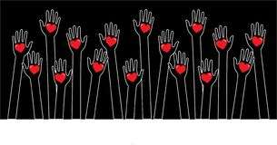 Reaching helping arms header or banner royalty free stock photos