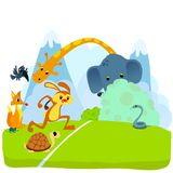 Tortoise and The Hare or Turtle and The Rabbit Fable Vectoral Illustration. Start of The Race vector illustration