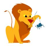The Lion and the Mouse Tale Vectoral Illustration. royalty free stock photo