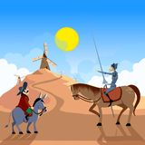 Don Quixote and Sancho Panza riding on windmills. royalty free illustration