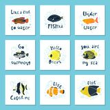Set of vector illustrations - a cute tropical fish in water with bubbles. Original lettering. vector illustration