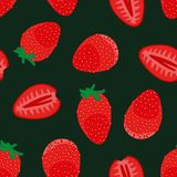 Seamless vector pattern with fresh red strawberrries on dark background. Seamless vector pattern with whole and sliced fresh red strawberries on dark background stock illustration