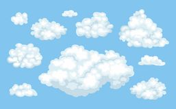 Set of vector cartoon clouds on blue background. royalty free illustration
