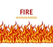 Fire isolated on white background. Vector flame seamless border. royalty free illustration