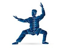 Kung fu action ready to fight cartoon vector illustration