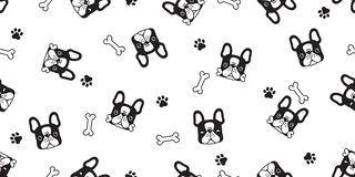 Dog seamless pattern french bulldog paw bone vector footprint head puppy pet scarf isolated tile background repeat wallpaper carto vector illustration