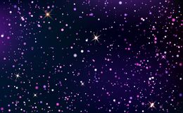 Dark blue and violet starry sky. Dark blue starry sky. Dark horizontal background with shining light dispersed particles and stars. Vector illustration for your royalty free illustration