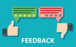 Feedback concept design. Agree or like, Disagree or dislike feedback concept. Customer review, Usability Evaluation. Rating system. Customer excellent review royalty free illustration