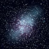 Dark blue starry sky. Dark background with shining light dispersed particles and stars. Vector illustration for your graphic design royalty free illustration