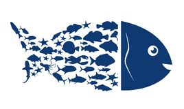Fish logo. Blue symbol of fish on a white background. Vector illustration. royalty free illustration