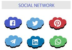 Social Network Icon Package : Top brand of social media stock illustration
