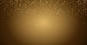 Waterfalls golden glitter sparkle-bubbles champagne particles stars black background happy new year holiday concept. stock illustration