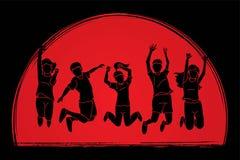Group of children jumping, Happy Feel good cartoon graphic stock illustration