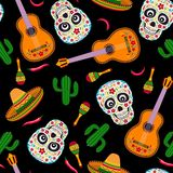 Mexican seamless pattern on black background. vector illustration