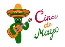 Cinco de Mayo Greeting card. Ð¡artoon cactus with mustache in sombrero playing guitar stock illustration