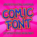 Comic font. Comics and pop art style alphabet. Colorful funny letters and numbers. Comic font. Comics and pop art style alphabet. Colorful funny letters and stock illustration