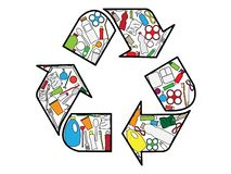 Recycling logo build up from plastic products stock illustration