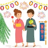 Couple at the Japanese Summer Festival royalty free stock photos