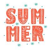Summer Scandinavian folk ethnic style royalty free illustration