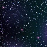 Dark blue and violet starry sky. Dark blue starry sky. Dark background with shining light dispersed particles and stars. Vector illustration for your graphic royalty free illustration