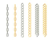 Set of chains of gold and silver. stock illustration