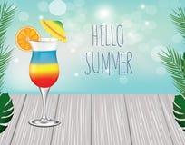 Text hello summer. cocktail on wooden planks. Vector illustration vector illustration